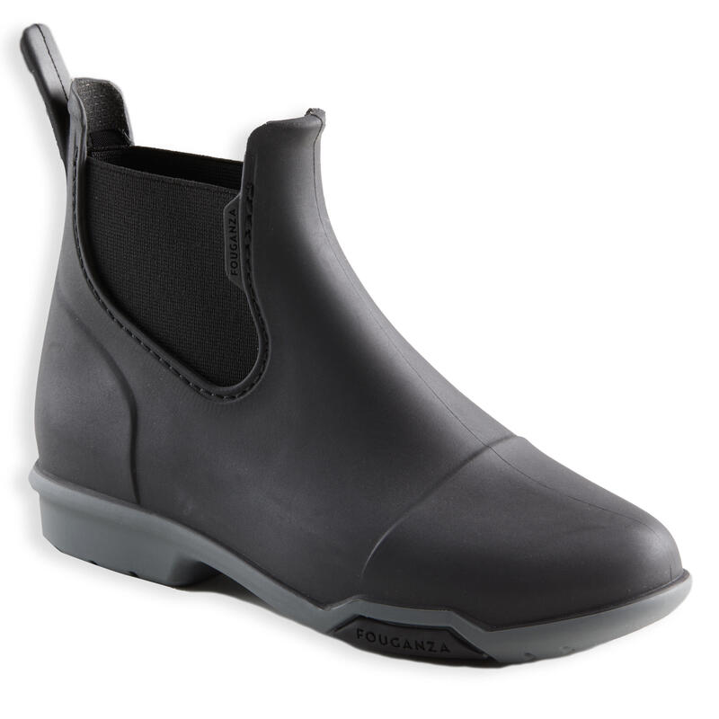 Boots équitation enfant 100 noir et gris
