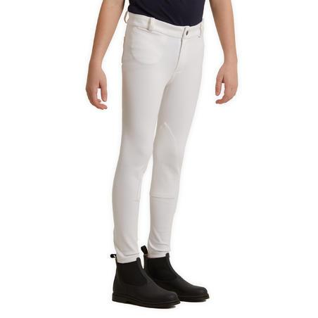 Pantalón Equitación Fouganza 100 Niños Blanco Concurso