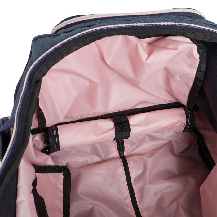 Sac de transport à roulettes équitation TROLLEY 80 L bleu foncé et rose.