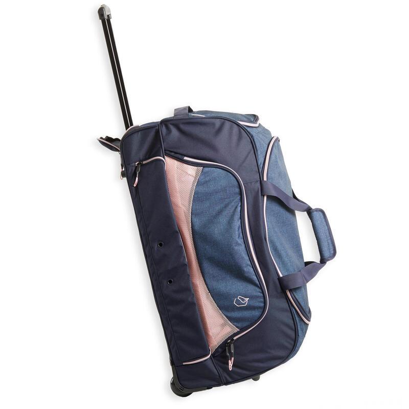 Horse Riding Trolley Bag 80 Litres - Dark Blue/Pink