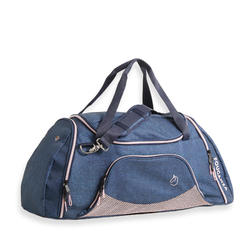 Draagtas voor ruitersportmateriaal Duffle 55 l donkerblauw/roze