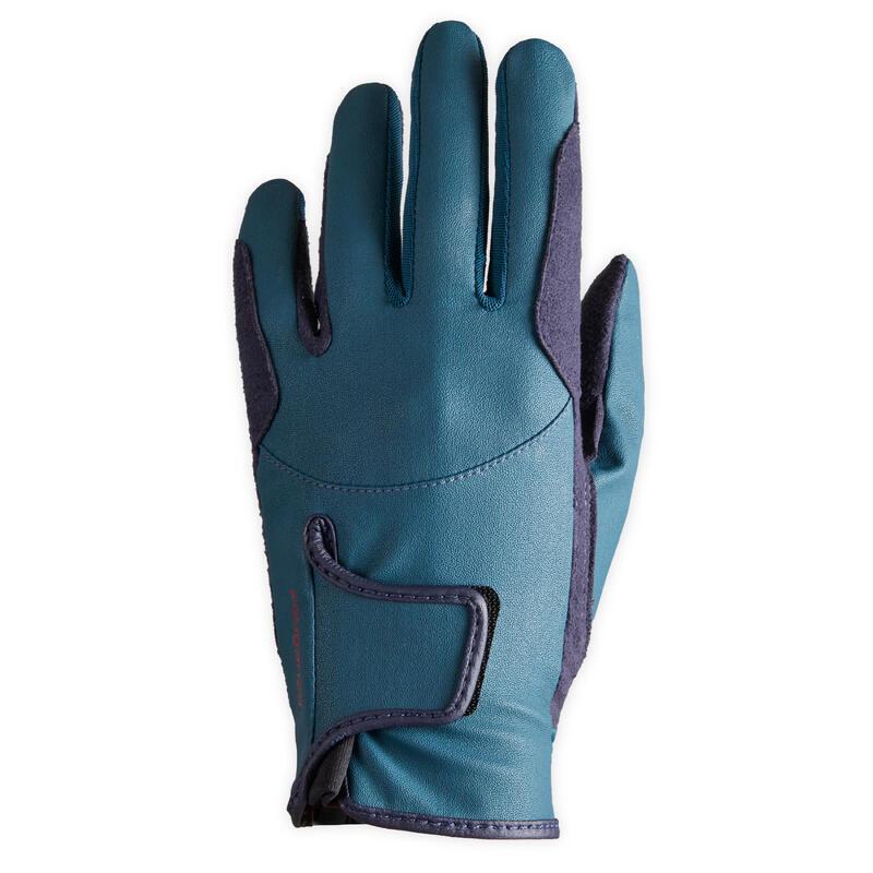 Rijhandschoenen voor kinderen 500 eendengroen/marineblauw