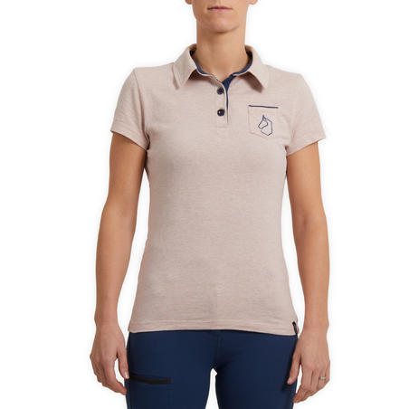 Women's Short-Sleeved Equestrian Polo 140 - Mottled Light Pink