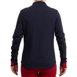 Sweatshirt ruitersport dames 500 marineblauw en roze mouwen