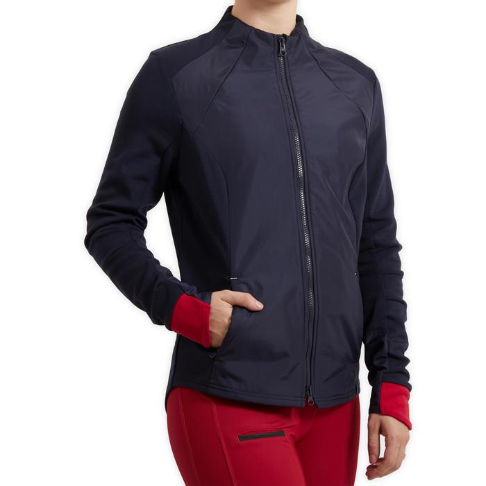 Sweat-shirt équitation femme 500 bleu marine manchon rose