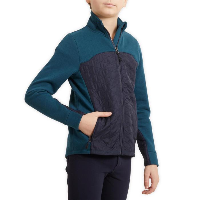 Sweat-shirt équitation enfant bi-matière 500 pétrole et marine