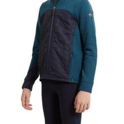 Sweater in twee materialen voor kinderen ruitersport 500 petrol/marineblauw