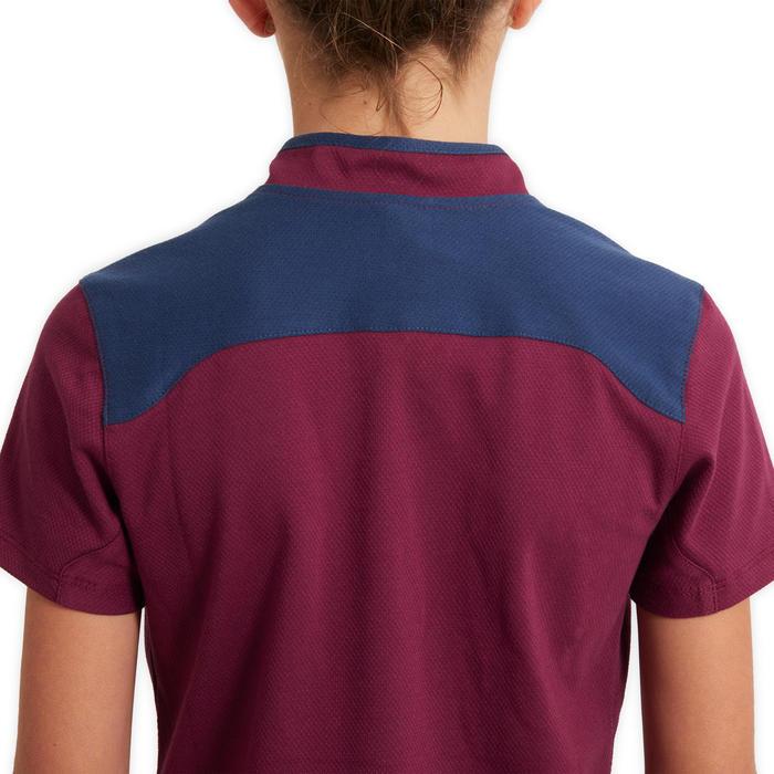 Polo met korte mouwen voor kinderen ruitersport 500 paars/blauw