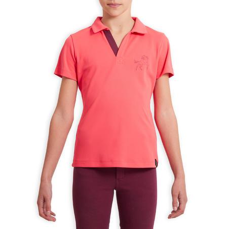 Kids' Horse Riding Mesh Short-Sleeved Polo Shirt 500 - Pink/Plum