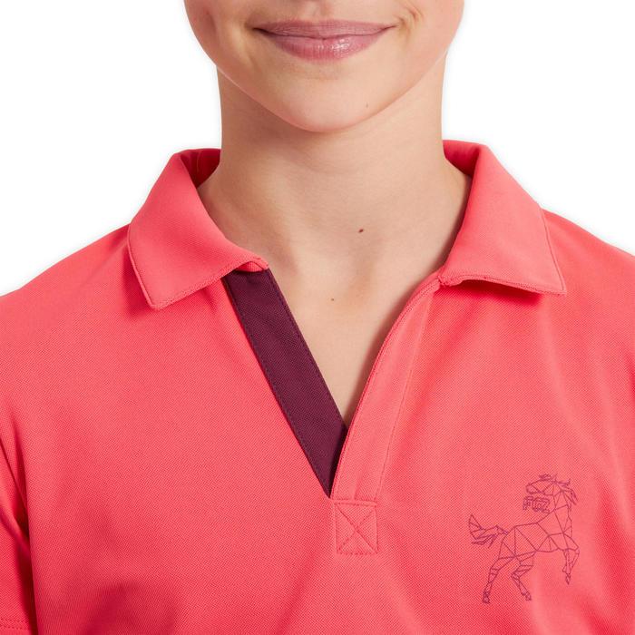 Kinderpolo voor paardrijden 500 mesh roze/paars