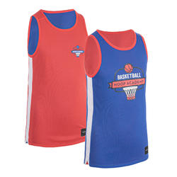 Boys'/Girls' Intermediate Reversible Basketball Jersey T500R - Pink/Blue Playg