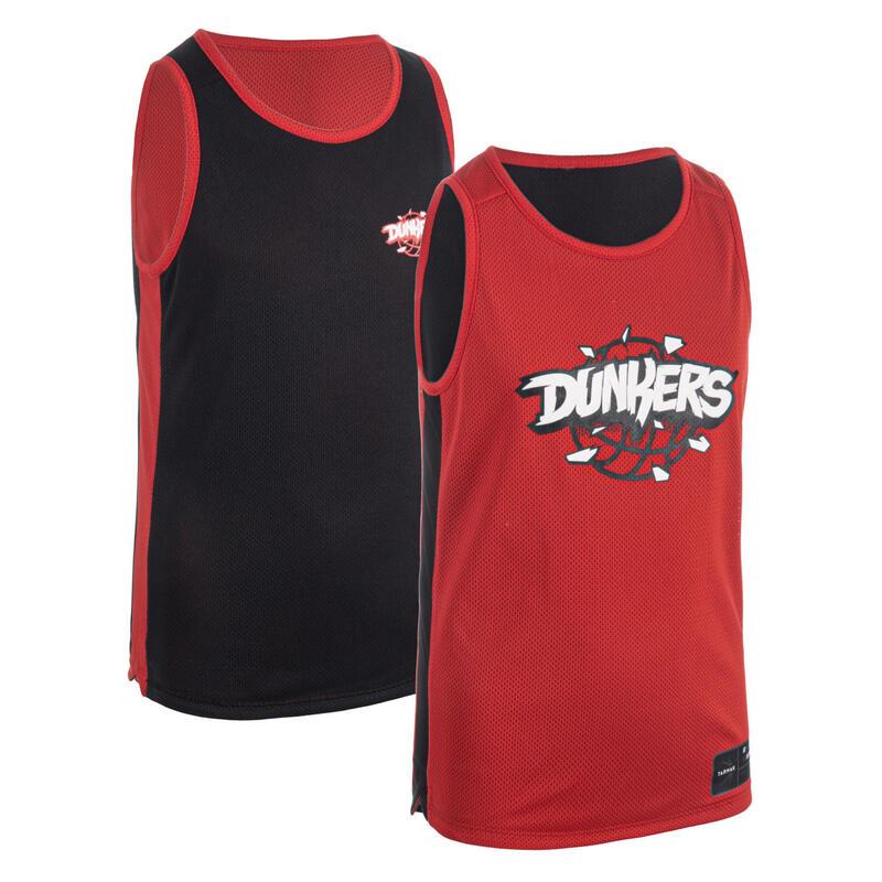 Reversible mouwloos basketbalshirt voor jongens/meisjes T500R zwart/rood Dunke