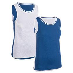 女款雙面籃球背心T500R-藍色/白色BSKBL
