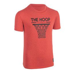 兒童款中階籃球T恤TS500-紅色