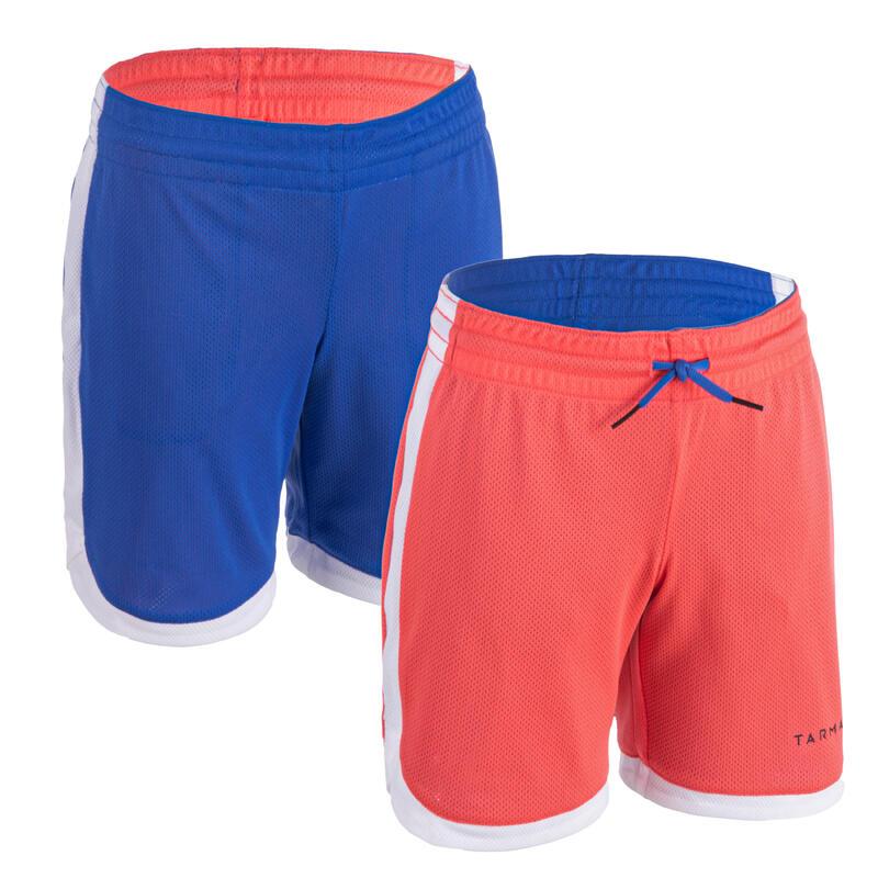 Dětské oboustranné basketbalové kraťasy SH500R růžovo-modré