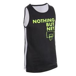 Jersey Bola Basket Bisa Dibalik Menengah Putra/Putri T500R - Black/White Noth