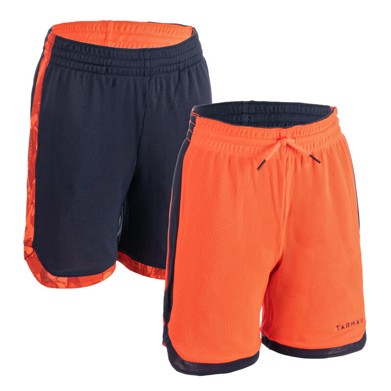 Dětské basketbalové kraťasy SH500R oboustranné modro-oranžové
