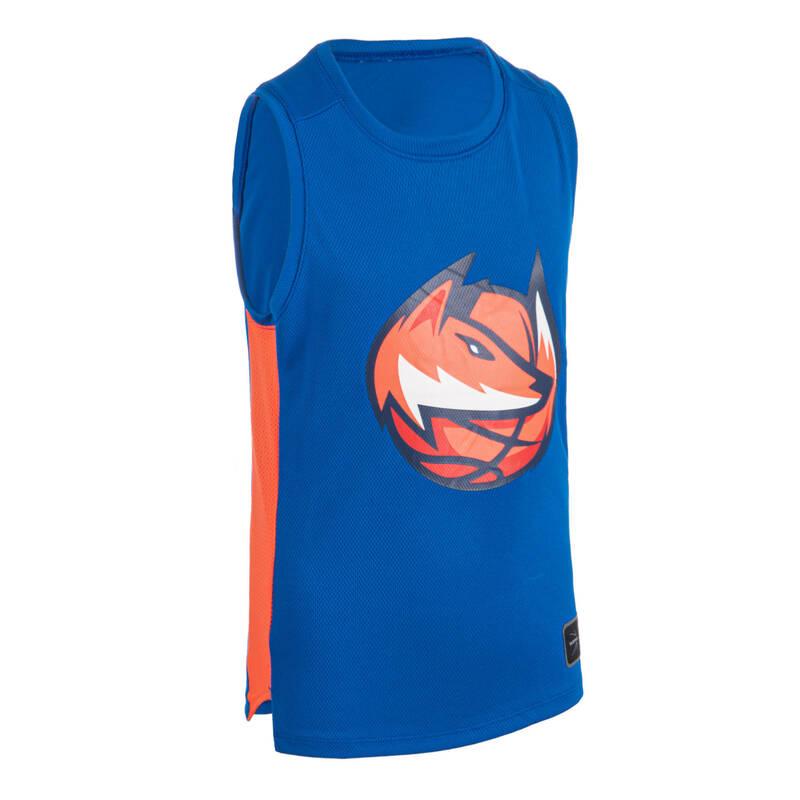 DĚTSKÉ OBLEČENÍ NA BASKETBAL Basketbal - DRES T500 MODRO-ORANŽOVÝ FOX TARMAK - Basketbalové oblečení a doplňky