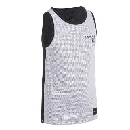 Kids' Reversible Sleeveless Basketball Jersey T500R - Black/White Noth