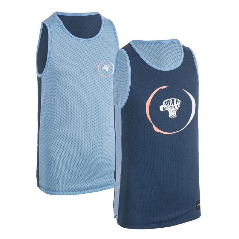 Dětský basketbalový oboustranný dres T500R modrý