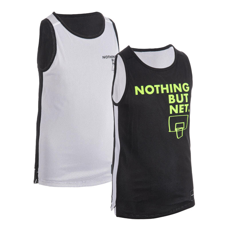 Reversible mouwloos basketbalshirt jongens/meisjes T500R zwart/wit NOTH