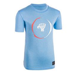 兒童款中階籃球T恤TS500-藍色
