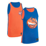 Kids' Intermediate Reversible Sleeveless Basketball Jersey T500R Blue/Orange Fox