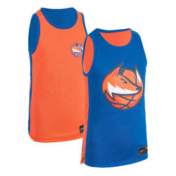 Boys'/Girls' Intermediate Reversible Basketball Jersey T500R - Blue/Fox Orange