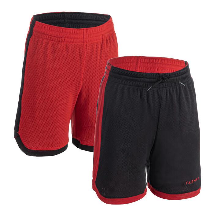 Reversible basketbalshort voor gevorderde jongens/meisjes SH500R zwart/rood