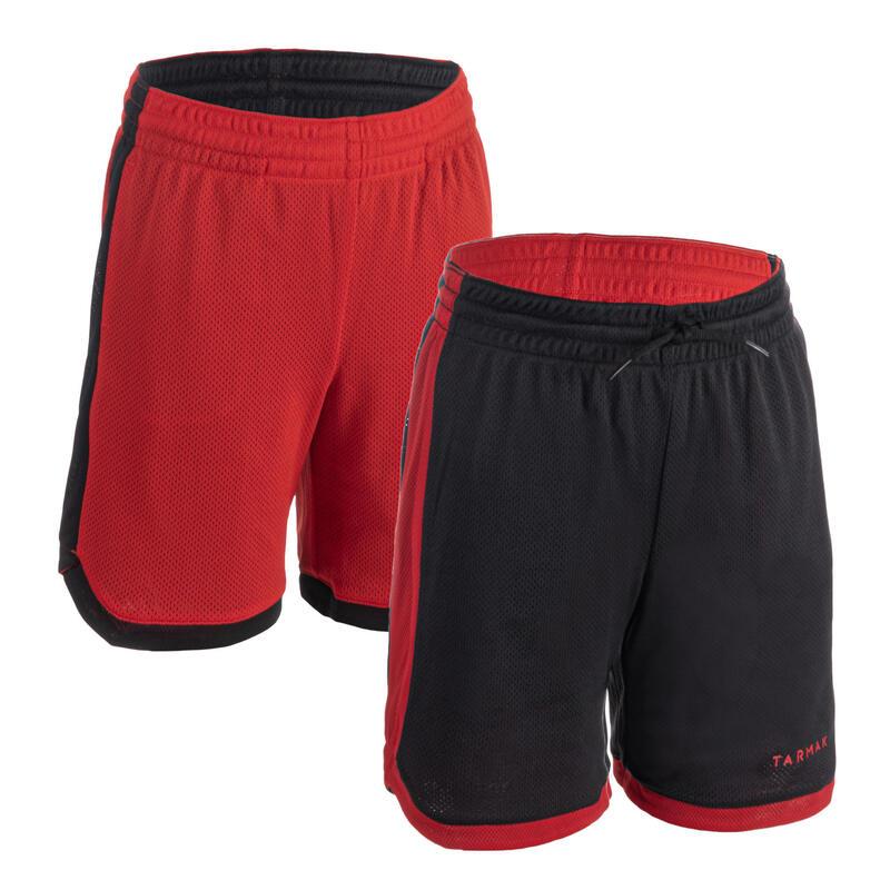 Dětské oboustranné basketbalové kraťasy SH500R černo-červené