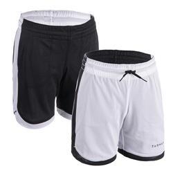 Reversible basketbalshort voor gevorderde jongens/meisjes wit/zwart SH500R