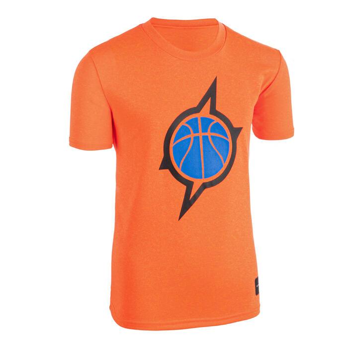 男女兒童款中階籃球T恤TS500-橘色