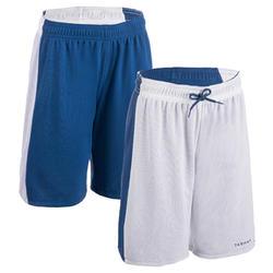 女款雙面籃球短褲SH500R-藍色/白色