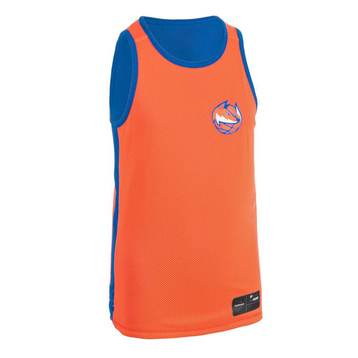兒童款中階雙面籃球運動衫T500R-藍色/橘色(狐狸圖案)