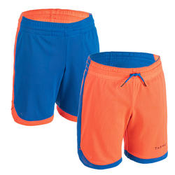 Boys'/Girls' Intermediate Reversible Basketball Shorts SH500R - Blue/Orange