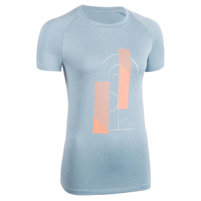 女款中階籃球T恤TS500-藍色/灰色