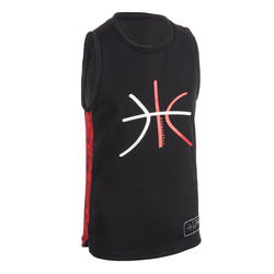 T500 Boys'/Girls' Intermediate Basketball Jersey - Black/Red
