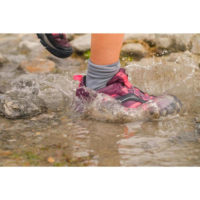 兒童款防水綁帶健行鞋CROSSROCK-紫色