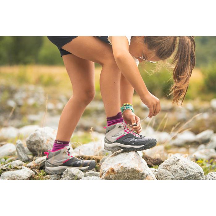 Chaussures imperméables de randonnée enfant lacet CROSSROCK MID grises 35-38