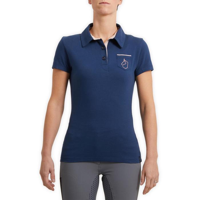 Polo manches courtes équitation femme 140 bleu turquin