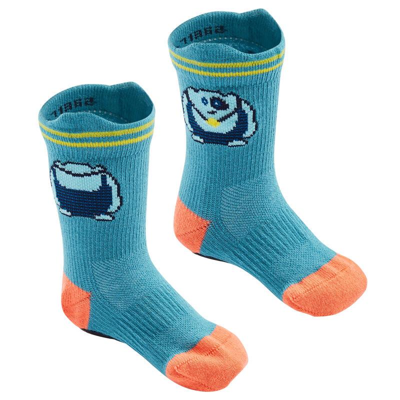 Non-Slip Socks 600 Twin-Pack - Blue Grey/Orange