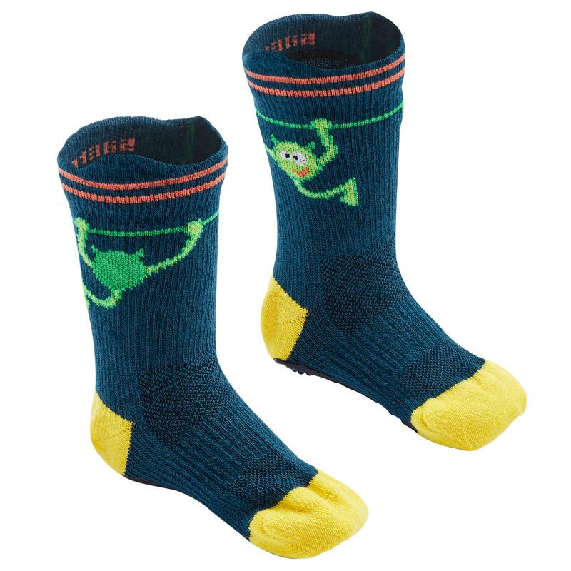 Antislip sokken voor peuter- en kleutergym 600 blauwgroen/geel