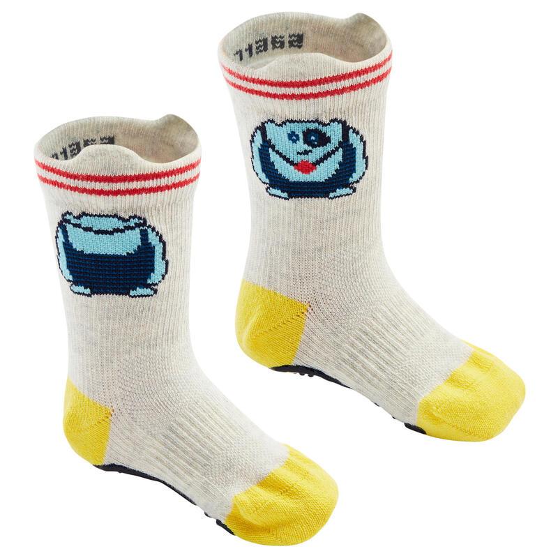 Antislip sokken voor kleutergym 600 set van 2 paar gemêleerd grijs/geel