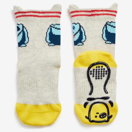 Non-Slip Socks 600 Twin-Pack - Grey/Yellow
