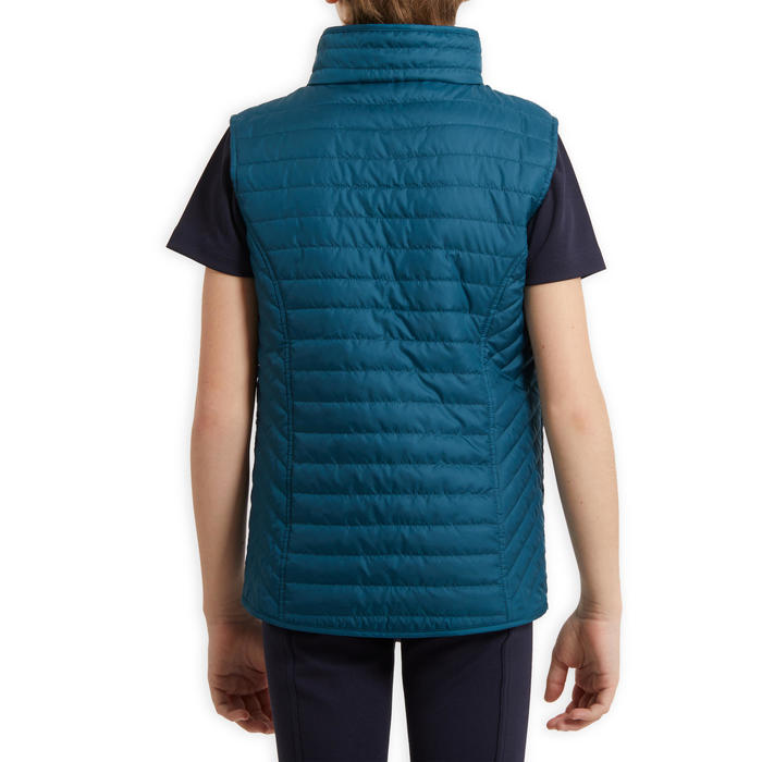 Bodywarmer ruitersport kind 100 petrol