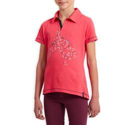 Polo met korte mouwen ruitersport 100 roze