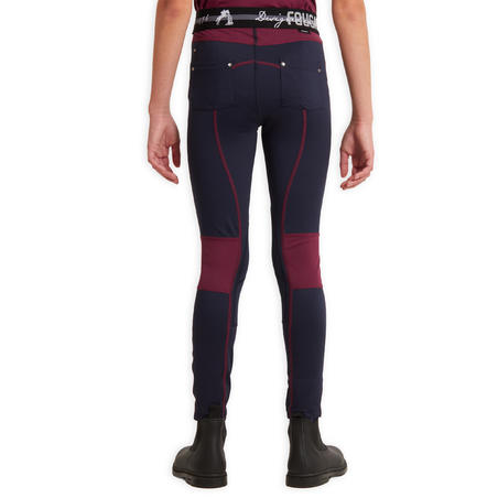Kids' Horse Riding Jodhpurs 100 Light - Navy Blue/Plum