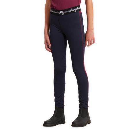 Pantalon équitation enfant 100 LIGHT bleu marine et prune