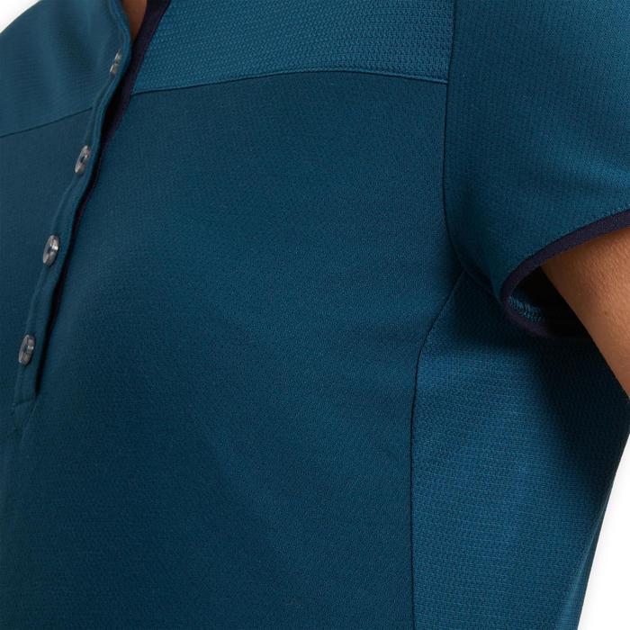 Polo manches courtes équitation femme 500 bleu pétrole