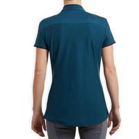 Women's Short-Sleeved Horse Riding Polo Shirt 500 - Petrol Blue